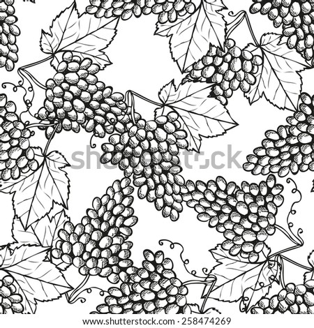 Elegant seamless pattern with hand drawn decorative grapes, design elements. Can be used for invitations, greeting cards, scrapbooking, print, gift wrap, manufacturing. Food background - stock photo
