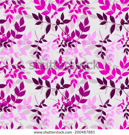 Elegant seamless pattern with hand drawn decorative leaves, design elements. Floral pattern for wedding invitations, greeting cards, scrapbooking, print, gift wrap, manufacturing. - stock photo