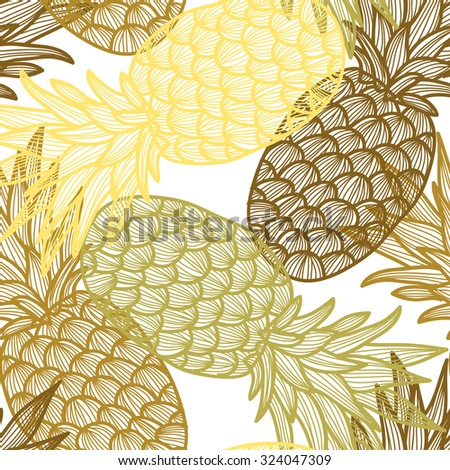Elegant seamless pattern with hand drawn decorative pineapples, design elements. Can be used for invitations, greeting cards, scrapbooking, print, gift wrap, manufacturing. Food background - stock photo