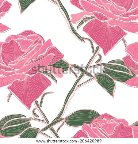 Elegant seamless pattern with hand drawn decorative pink roses, design elements. Floral pattern for wedding invitations, greeting cards, scrapbooking, print, gift wrap, manufacturing. - stock photo