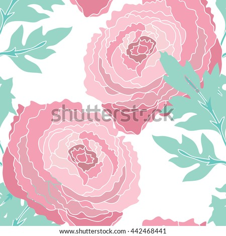 Elegant seamless pattern with hand drawn decorative ranunculus flowers, design elements. Floral pattern for wedding invitations, greeting cards, scrapbooking, print, gift wrap, manufacturing.