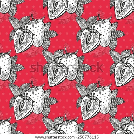 Elegant seamless pattern with hand drawn decorative strawberries, design elements. Can be used for invitations, greeting cards, scrapbooking, print, gift wrap, manufacturing. Food background - stock photo