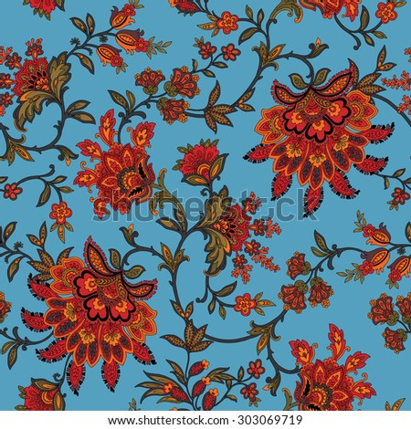 Elegant Seamless pattern with ornament, floral illustration in vintage style - stock photo