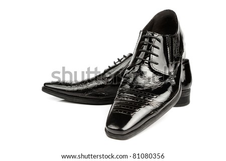 Elegant shiny black dress shoes - stock photo