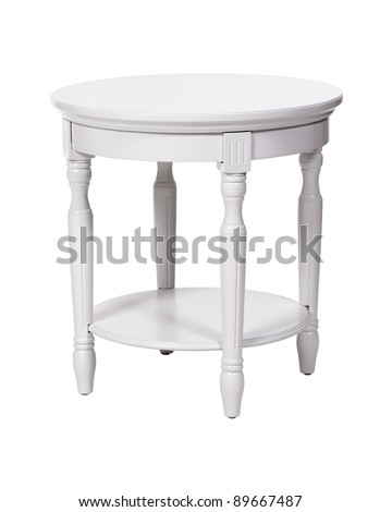 Elegant side table isolated over white, with clipping path - stock photo