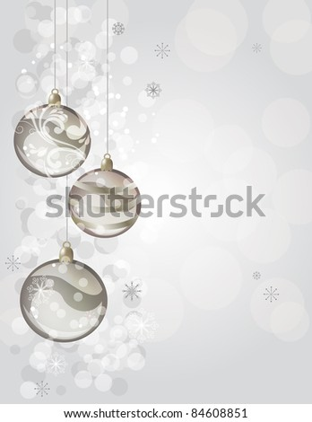 Elegant silver christmas background with balls. Raster version.
