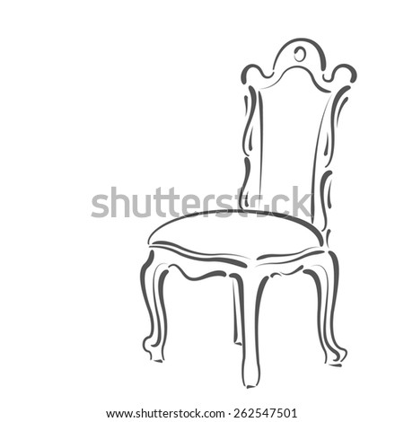 Elegant Sketched Chair Design Template For Label Banner Badge Logo