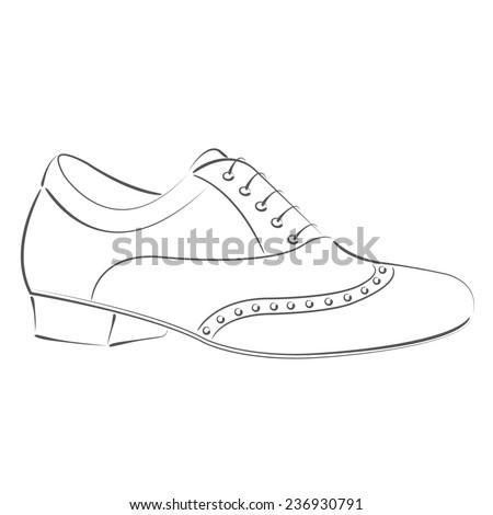Elegant sketched man's shoe for Argentine tango dancing. Design template for label, banner, postcard, logo. Dance shoe raster illustration. - stock photo