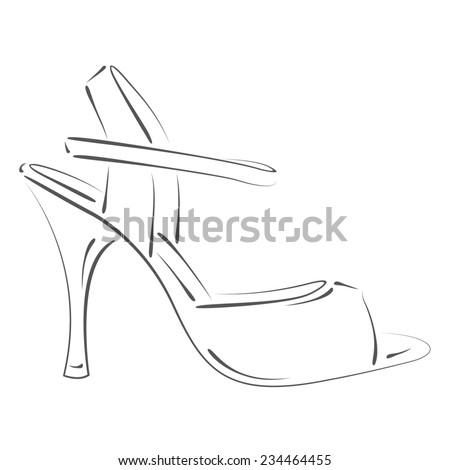 Elegant sketched woman's shoe for Argentine tango dancing. Design template for label, banner, postcard. Raster illustration. - stock photo