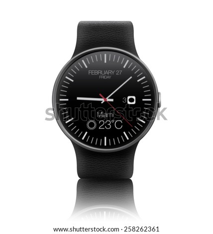 Elegant smartwatch with clock, notifications and weather on screen. Isolated on white. - stock photo