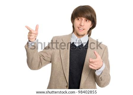 Elegant smiling young businessman representing something - stock photo