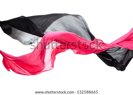 Elegant smooth red and black satin isolated on a white background - stock photo