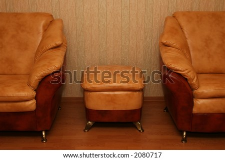 Elegant sofas - an interior of a living room - stock photo