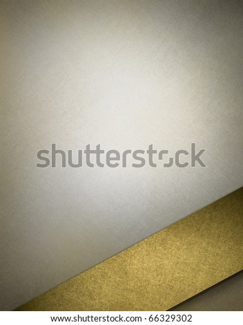 elegant soft gray background with highlight, graphic art design layout, and angled gold ribbon stripe for copy space to add own text,