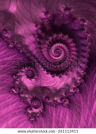 Elegant spiral in dark fuchsia feathers - abstract fractal birthday party card background