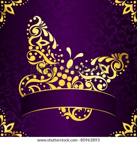 gold butterfly on a purple background stock images. Black Bedroom Furniture Sets. Home Design Ideas