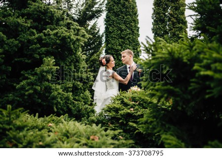 Elegant stylish groom lovely embraces with his happy gorgeous brunette bride on the background of trees in the park. View through trees.