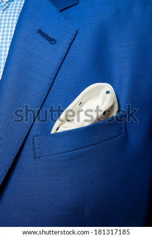 elegant stylish jacket and handkerchief in the pocket - stock photo