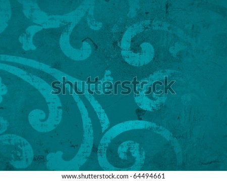 Elegant subtle decorative azure blue paper surface close up. More of this motif & more decors in my port. - stock photo