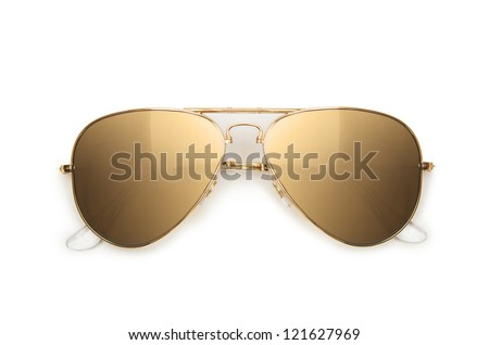 Elegant sunglasses isolated on the white - stock photo