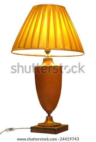 elegant table lamp isolated with clipping path - stock photo