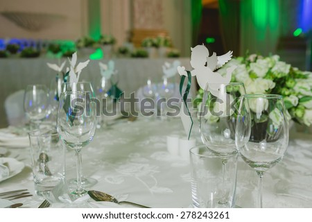 Elegant table set up for a wedding banquet - stock photo