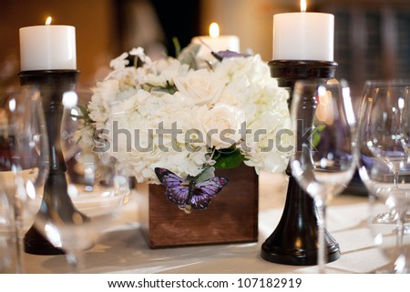 Elegant Table Setting at a Wedding Reception - stock photo