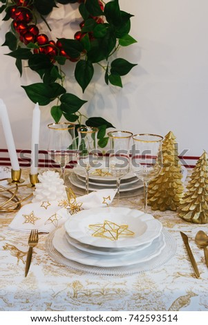Elegant Table Setting Of Christmas, Gold And White Decoration, Modern Style.