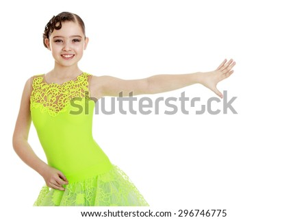 Elegant teenage girl in sportswear stretched out his hand toward the girl enters into the image before dance competitions - stock photo