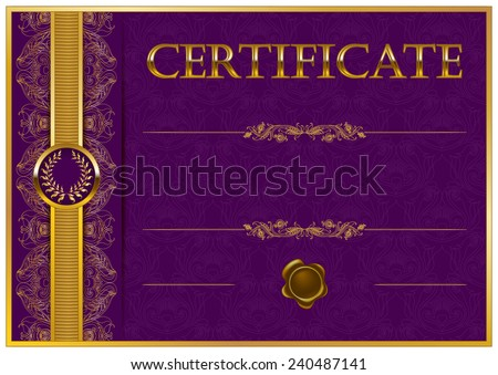 Elegant template of certificate, diploma with decoration of lace pattern, ribbon, wax seal, laurel wreath, place for text. Certificate of achievement, education, awards, winner. Illustration