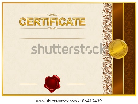 Elegant template of certificate, diploma with lace ornament, ribbon, place for text. Illustration.