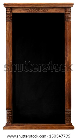 Elegant tool antique wooden picture frame chalkboard blackboard isolated on a white background with copy space - stock photo
