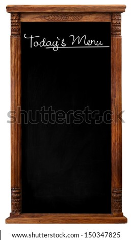 Elegant tool antique wooden picture frame chalkboard blackboard used as Today`s Menu isolated on a white background with copy space - stock photo