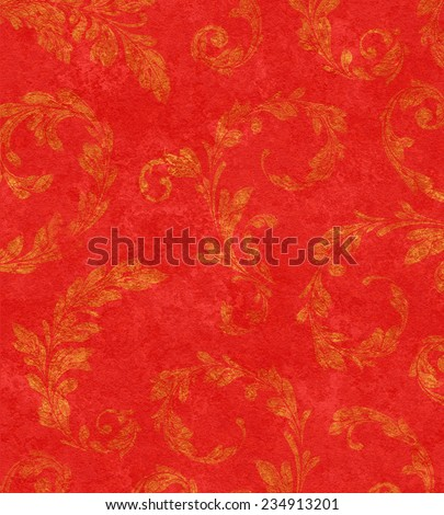 Elegant traditional background of gold laurel leaves on textured red