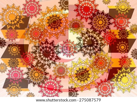Elegant  unique  modern  delicate    abstract design  with floral  and geometric motifs superimposed   on a subtle blurred      background ideal for  superb  classic wallpapers. - stock photo