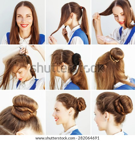 elegant updo tutorial for office by beauty blogger - stock photo