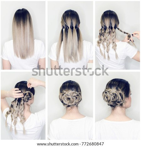 Elegant Updo Much Braids Hairstyle Tutorial Stock Photo Royalty Free 772680847 Shutterstock
