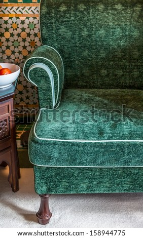 Elegant upholstered vintage armchair. Texture detail of fabric. - stock photo