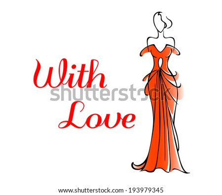 Elegant Valentines or anniversary greeting card for a loved one with a tall woman in a red gown alongside the words - With Love. Vector version also available in gallery - stock photo