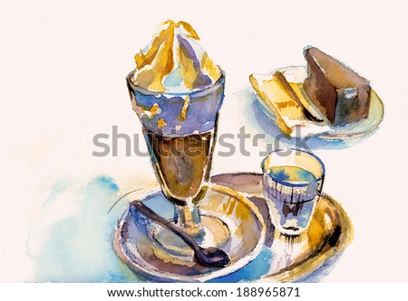 Elegant viennese coffee with traditional chocolate cake watercolor painting - stock photo