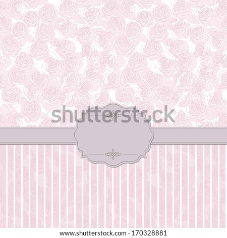 Elegant vintage banner frame on floral and striped patterns in pastel pink colors. Can be used for scrapbook or wedding invitation. Raster version. - stock photo