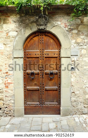 elegant vintage door to the tuscan house, Italy, Europe - stock photo