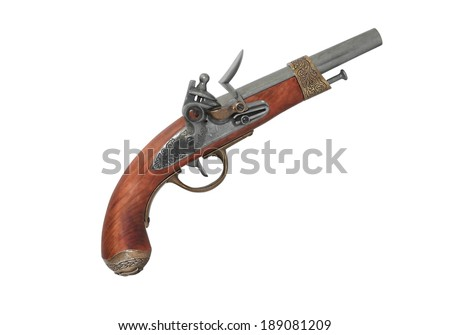 Elegant vintage pistol on white background. Clipping path is included