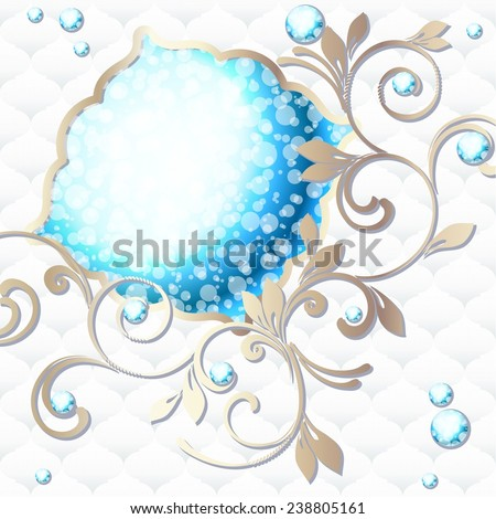 Elegant vintage rococo emblem in blue and white (jpg); eps10 version also available - stock photo