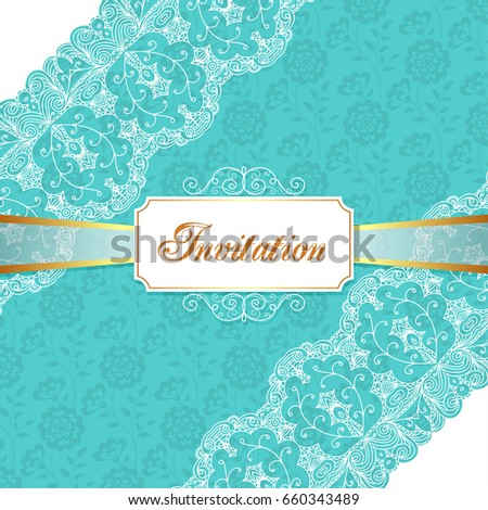 Elegant vintage wedding or birthday invitation template with lace corners. Illustration
