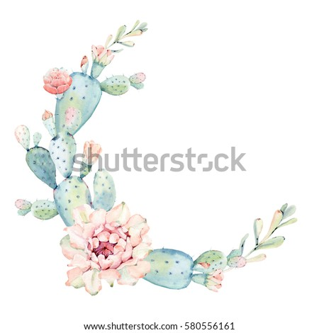 Elegant Watercolor Flowers Circle Frame It Can Be Used For Wedding Cards And Invitations