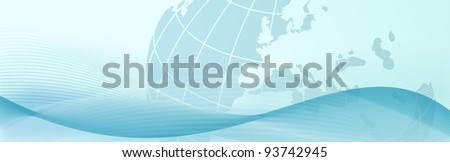 elegant web banner with blue earth and abstract waves - bitmap illustration - stock photo