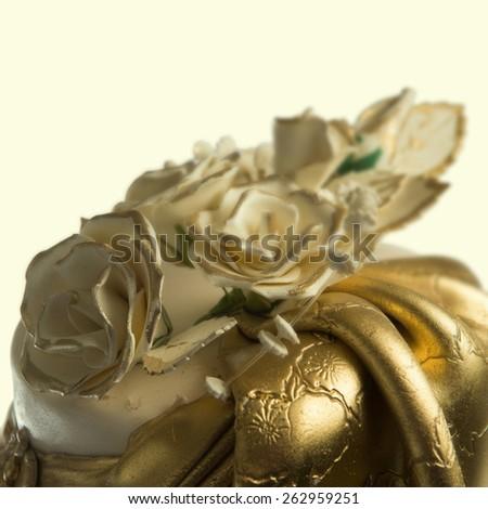 Elegant wedding cake - details - stock photo