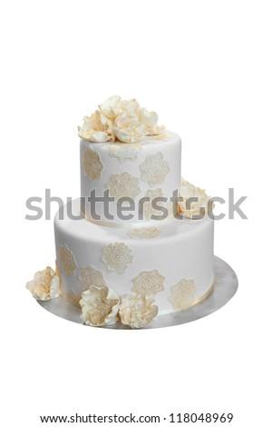 Elegant Wedding Cake with Beige flowers, isolated on white - stock photo