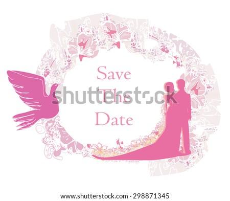 elegant wedding invitation - stock photo